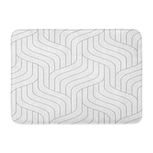 Lattice,Darkchocl Decorative Bath Mat with Geometric Stylish Texture Light Absorbent Non Slip 100 Flannel 17 L X 24 W for Bathroom Toilet Bath Tub Living Room