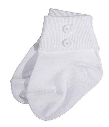 Christening Day Baby Boys White Nylon Anklet Socks With Buttons - Small 2-4 Months