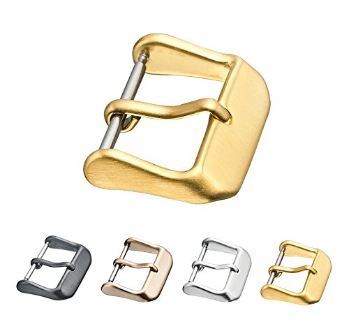 Replacement steel buckle for watch bands - Leather watch straps clasp in Gold color - 20 mm ()
