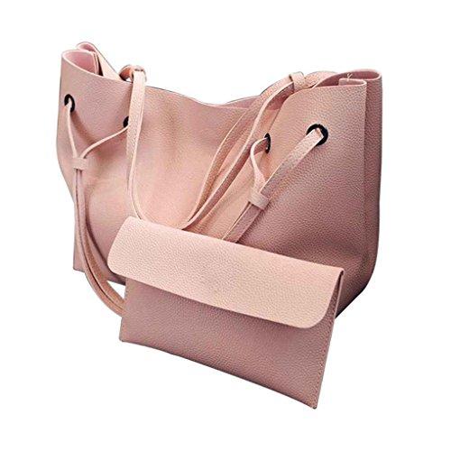 2PCS Femmes Dessine-string de couleur unie PU Sac à bandoulière en cuir de grande capacité fille Lady Sac fourre-tout doux shopping sac à main Arichtop Rose