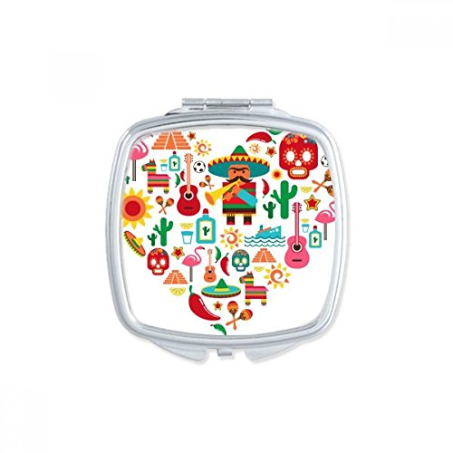 Sombrero Suger Skull Mexico Mexican Flamingo Square Compact Makeup Pocket Mirror Portable Cute Small Hand Mirrors Gift by DIYthinker