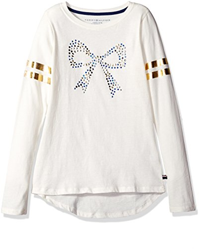 tommy-hilfiger-big-girls-long-sleeve-glitter-bow-graphic-tee-whisper-white-medium-8-10