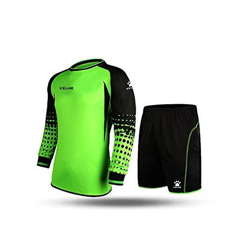 Soccer Jersey Football Shirt (Football Goalkeeper Long-Sleeve Suit Soccer Jersey Set,Green/Black, Asia:XL US:M)
