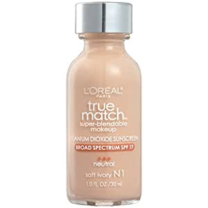 L'Oréal Paris True Match Super-Blendable Foundation Makeup, Soft Ivory, 1 fl. oz.