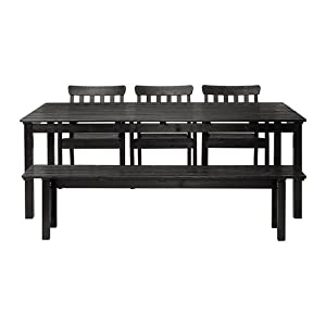 Ikea Table + 3 armchairs + bench, outdoor, black-brown stained 162020.8298.266 by Ikea