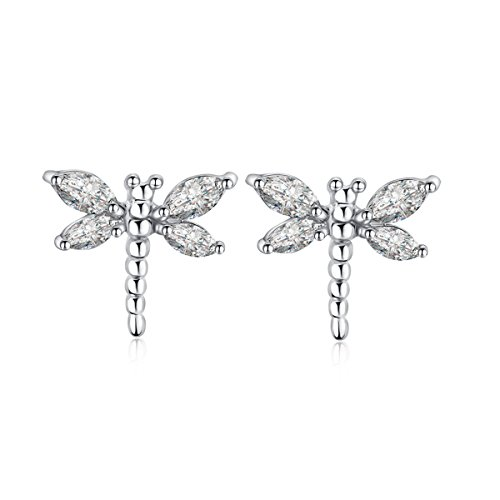 Dragonfly Earrings (Plated Sterling Silver Animal Dragonfly Earrings Studs for Women Girl - White Crystal Jewelry Gift)