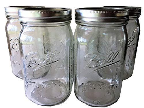 Ball Mason Jar-32 oz. Clear Glass Wide Mouth - Set of 4 by Ball