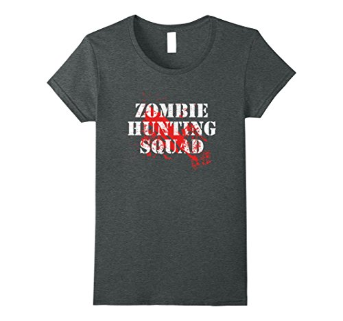 Funny Costumes From Tv Shows (Womens Zombie Hunting Squad Funny Zombie Victim T-Shirt Medium Dark Heather)