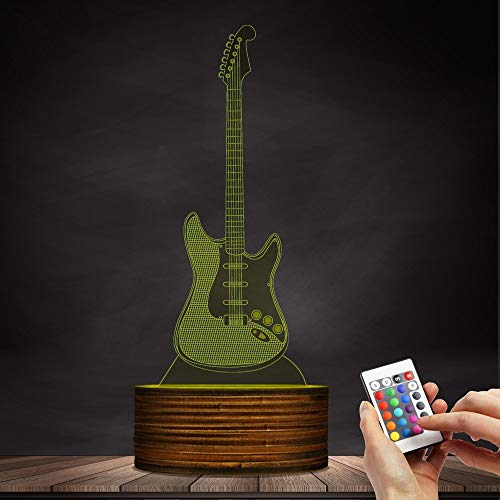 Novelty Lamp, 3D LED Lamp Optical Illusion Guitar Night Light, USB Powered Remote Control Changes The Color of The Light, Children's Friends Birthday Party, Ambient Light by LIX-XYD (Image #4)