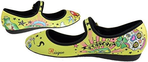 Risque Funky 01 Womens Printed Tattoo Design Ballerina Flats BsgL87N8w
