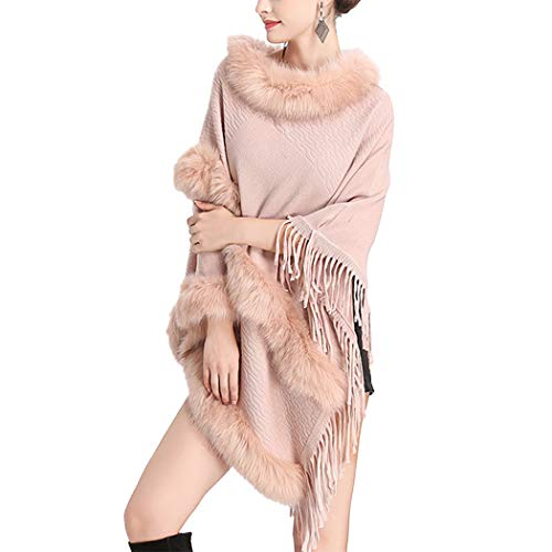 Raylans Women's Winter Knitted Faux Fur Collar Banket, used for sale  Delivered anywhere in USA