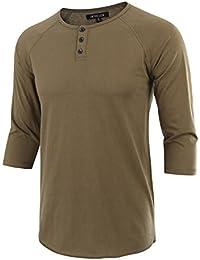 Men's Casual Raglan Fit Soft Baseball 3/4 Sleeve Henley T-Shirts Tee