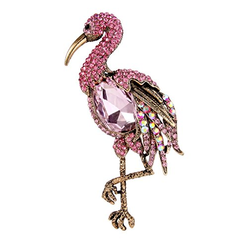 EVER FAITH Antique Gold-Tone Rhinestone Crystal Standing Flamingo Bird Animal Brooch Pink