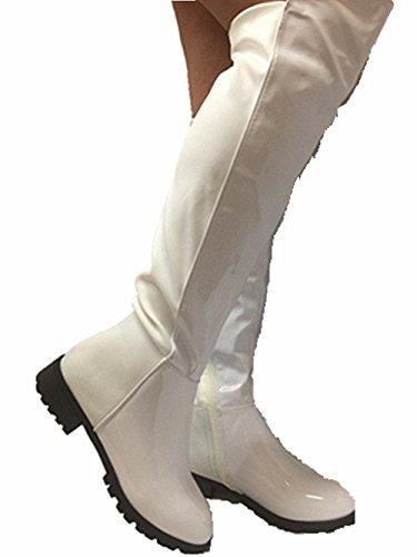 Kvinner Rund Tå Patent Lær Elastisk Over Kneet Boot Nye Hvite