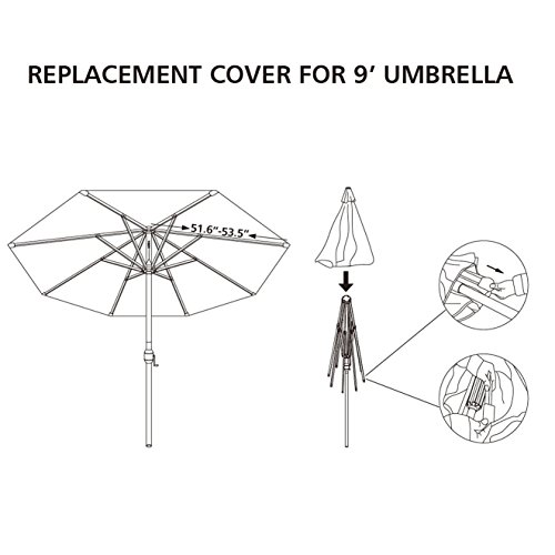 Umbrella Cover Canopy 9ft 8 Rib Patio Replacement Top Outdoor-TAN