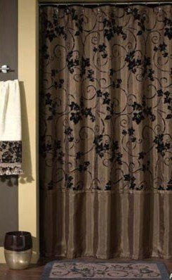 Croscill Eden Ivy Cartouche Chocolate Brown Shower Curtain Flocked Velvet