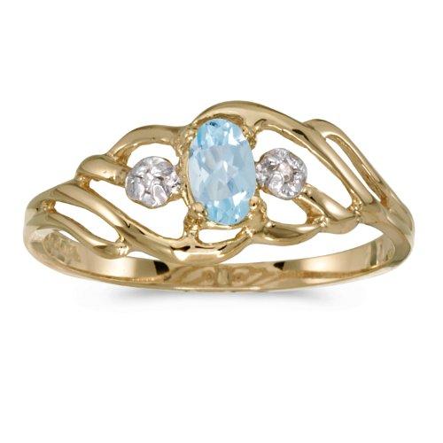 Gold Aquamarine Birthstone Ring - 2