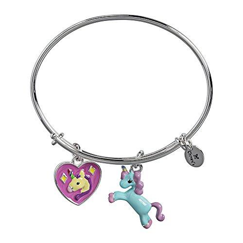 - Chrysalis Silver Rhodium Plated Unicorn Charm Expandable Bangle Bracelet for Girls