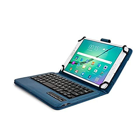 7 - 8'' inch tablet keyboard case, COOPER INFINITE EXECUTIVE 2-in-1 Wireless Bluetooth Keyboard Magnetic Leather Travel Windows Android Carrying Cases Cover Holder Folio Portfolio + Stand (Blue)