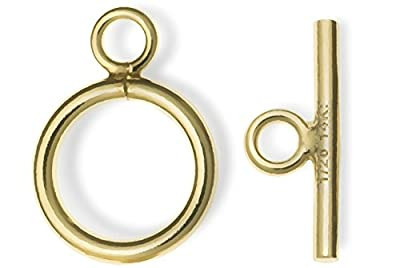 14k Gold Filled Plain Round Ring Bar Toggle Clasp Bead 9mm (1 set) by ugems