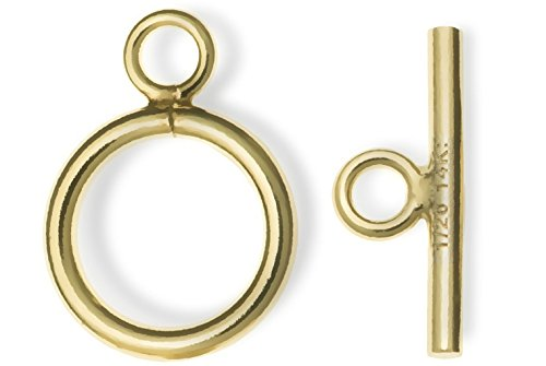14k Gold Filled Plain Round Ring Bar Toggle Clasp Bead 9mm (1 set) (Filled Toggle Gold 14k)