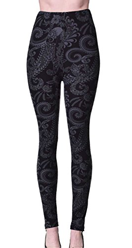 PLUS SIZE Printed Brushed Leggings (Shadowy Beauty) from VIV Collection