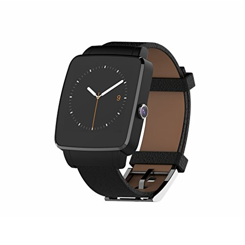 Bluetooth Smart Watch OUMAX S6 Edge for Android Smart Phones (Full Function Support for Android 4.3 to Android 6.0) – IPS Display/Black/Curved Screen/Replacement Premium Leather Strap