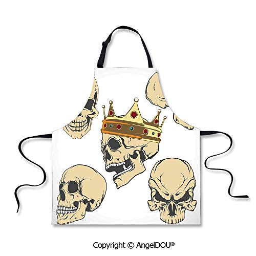 SCOXIXI Printed Unique Cool Kitchen Apron Skulls Different Expressions Evil Face Crowned Death Monster Halloween for Grill BBQ Cooking Cosplay Party.]()