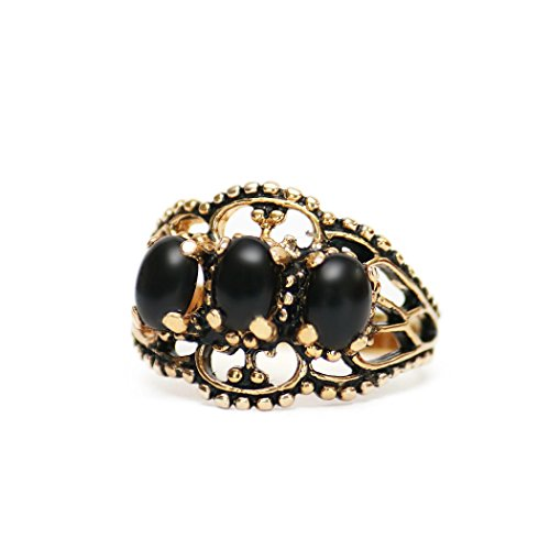Providence Vintage Jewelry Genuine Onyx Antiqued 18k Yellow Gold Electroplated Ring