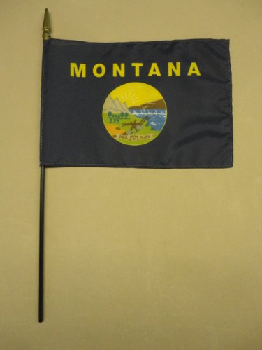 """Montana State Hand Held Desk Table Top Polyester Flag 8"""" X 12"""" on 18"""" Black Wood Staff with Gold Spear Tip (6 Pack)"""