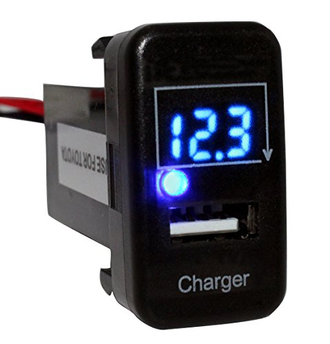 Cllena Toyota USB Charger + Voltmeter Tester 1.9ft Wiring and Fuse USB Power Socket(Blue LED)
