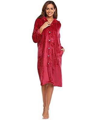 Hufcor Women's Hooded Long Robe Soft Fleece Plush Sleeping Bathrobes(S-XXL)
