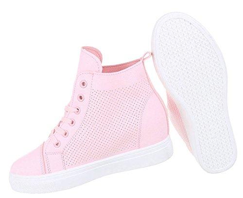 Sportliche Damen Sneakers | Sneaker Wedges | Keilabsatz Schuhe | Wedge Sportschuhe | 6- Fach Lochung mit Löchern | Schuhcity24 Rosa