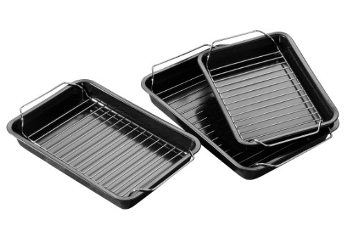Premier Housewares Set Of 3 Non Stick Roasting Trays With Rack