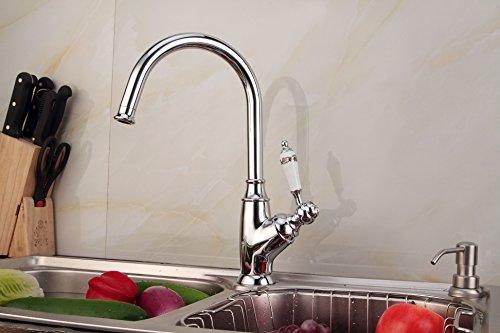 LIDANDA High-Arc Kitchen Sink Faucet 360 Degree Swivel Spout With Ceramic Handle,Chrome (Kitchen High Arc Spout)