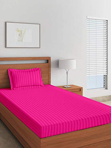 Reliable Trends Plain Stripe Single Elastic Fitted Bedsheets,Magenta