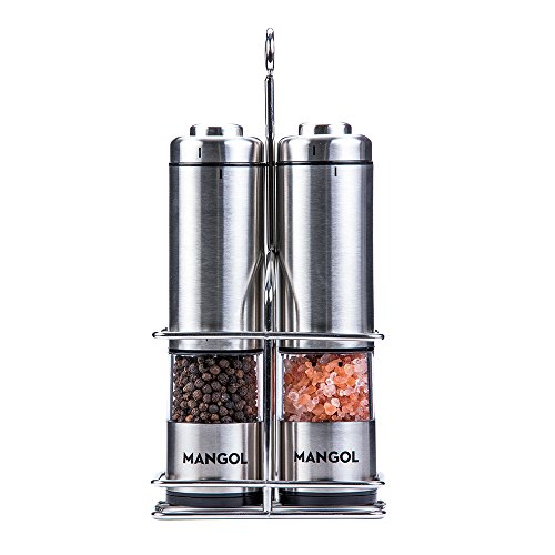 Electric Salt & Pepper Grinder Shaker Mill Set With Stand | Battery Operated | Adjustable Ceramic Coarseness Durable Stainless Steel Mills With Clear Window | For Himalayan & Sea Salt (2 pack) (Durable Ceramic)