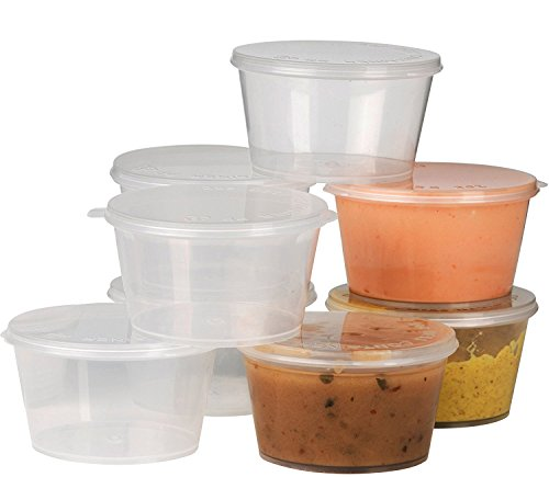 Plastic Condiment Cups with Attached Leak Resistant Lid, Bpa Free, [100 Pack ] Clear Portion Container for Condiments, Samples, Dressings, Pills, Balms, & Jello Shots | 2 oz