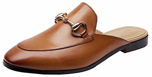 U-lite Women's Horsebit-Detailed Leather Loafers Brown Mule Shoes 6.5