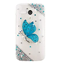 EVTECH(TM) 3D Handmade Crystal Blue Butterfly Spirit Rhinestone Heart Diamond Bling Cover Hard Clear Case for Moto G (XT1031, XT1032, XT1033, XT1034) (100% Handcrafted) (Blue Fairy)