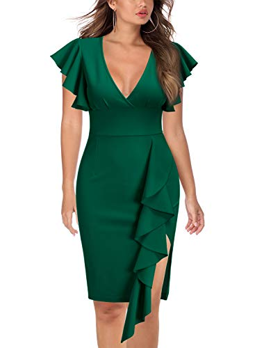 Knitee Women's Deep-V Neck Ruffle Sleeves Cocktail Party Pencil Dress,Large,Dark Green
