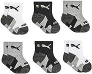 PUMA Baby Boys' 6 Pack Anklet Socks, white/black, 12