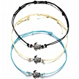 XIAOLI 2 Pcs Starfish Turquoise Ankle Beach Wedding Barefoot Sandals Bracelet Anklets (Turtle Anklet 3 Pcs)