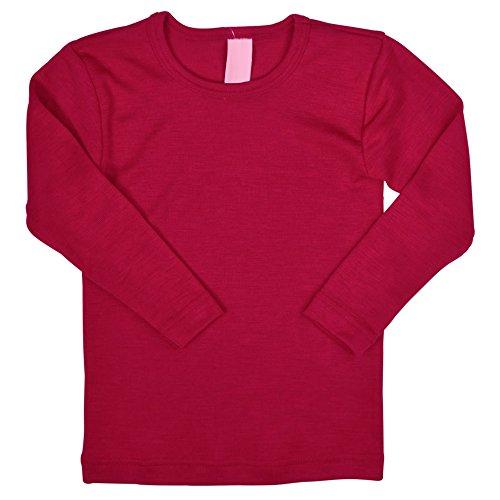 Kids Long Sleeve Thermal Shirt Base Layer or Pajama Top, Organic Merino Wool Silk, Sizes 2-10 years (Height 128cm/50inches, Red)