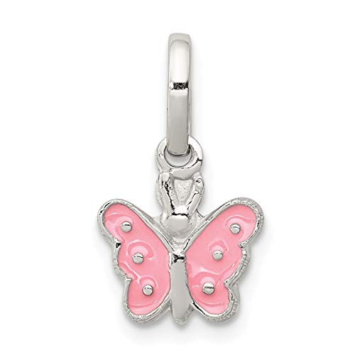 (925 Sterling Silver Childs Enameled Butterfly Pendant Charm Necklace Kid Animal Fine Jewelry Gifts For Women For Her)