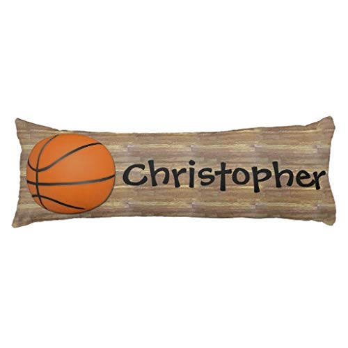 Pattebom Personalized Basketball Wood Floor Cotton Body Pillow Covers with Zippers 20 x 54 Decorative Bed Pillowcase for Kids