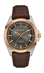 Bulova Men's 98B267 Stainless Steel Dress Watch With Brown Leather Band