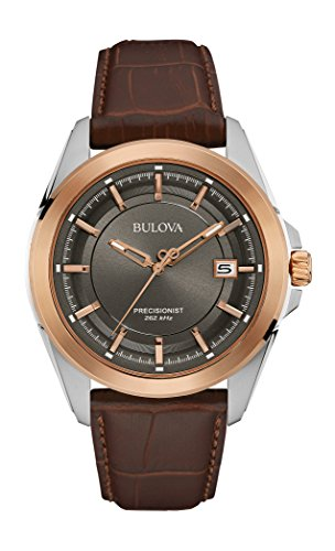 Bulova Men's 98B267 Stainless Steel Dress Watch With Brown Leather (Bulova Watch Leather Band)