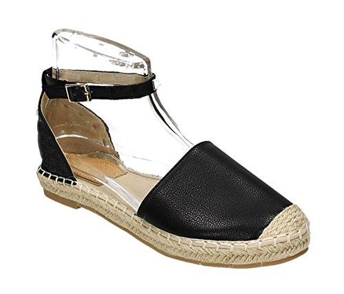 Bequeme Sommer Damen Nieten Riemchen Espadrilles Sandalen Sandaletten Schuhe A5-2 Schwarz
