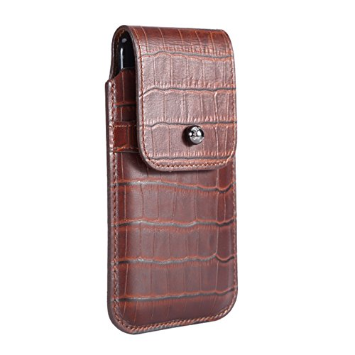 Blacksmith-Labs Barrett 2017 Premium Genuine Leather Swivel Belt Clip Holster for Apple iPhone 6/6s/7 (4.7 inch) for use with no cases or covers - Rustic Brown Croc Embossed Cowhide/Gunmetal Belt Clip by Blacksmith-Labs
